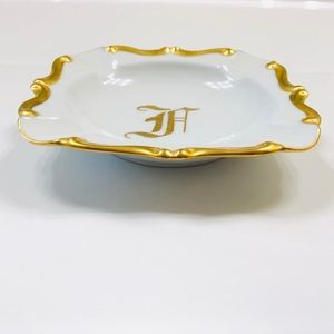 Vtg 60's Porcelain Gold Trim Monogrammed Ashtray